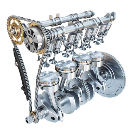 Sistema di motore a combustione interna isolato su priorità bassa bianca. Rendering 3D Archivio Fotografico
