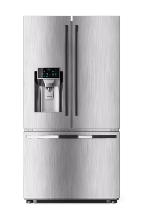 Modern domestic refrigerator with control display. 3d render Stock Photo