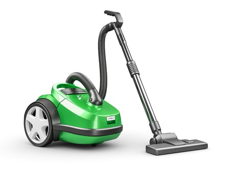 Green domestic vacuum cleaner isolated on white background 3d render Stock Photo