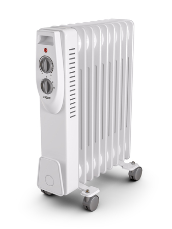 Electric oil filled heater. 3d render Imagens