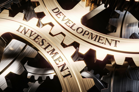 Investment and development gears mechanism concept 3d render Stock Photo