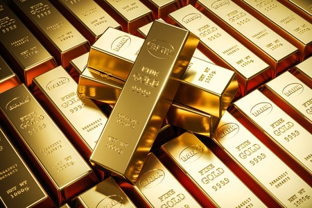 Lingots d'or dans le coffre-fort de la banque. Stockage. rendu 3D