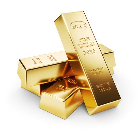 Groep van goudstaven geïsoleerd op een witte achtergrond 3d render Stockfoto