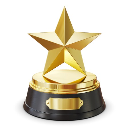Gold star award. Isolated on white background 3d render Stock Photo