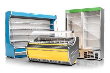 Commercial freezer display case, ice cream showcase and vertical refrigeration cabinet isolated on white background 3d render Reklamní fotografie