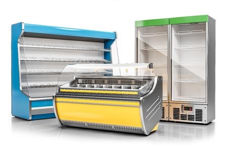 Vetrina per congelatore commerciale, vetrina per gelati e armadio di refrigerazione verticale isolato su sfondo bianco 3d render Archivio Fotografico