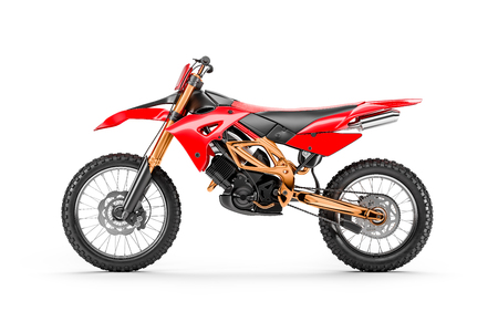 Red racing motorcycle for motocross by side view isolated on white background 3d