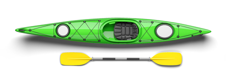 Green kayak and oar on top view 3D. Isolated on white background Stock Photo
