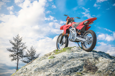 Red motorcycle on top of mountain landscape. 3d render Stock Photo