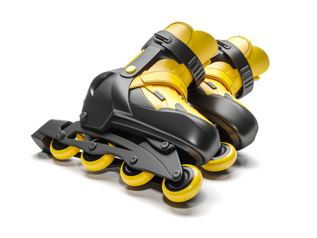 Black & yellow rollerskate isolated on white background 3d