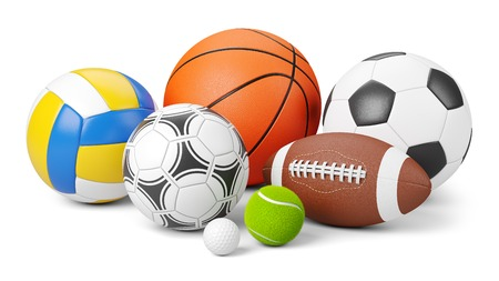 Logo des Sportgeschäfts. Gruppe von Bällen die Mannschaftsspiele isoliert auf weißem Hintergrund 3d