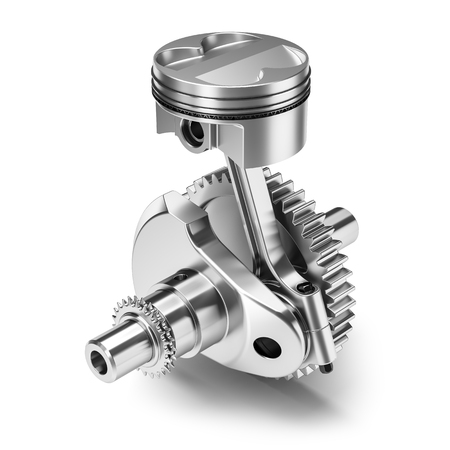 One piston crank gear engine isolated on white background 3d render