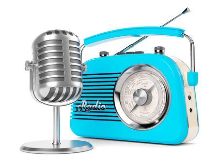 ON AIR radiomicrofono retro vintage fm broadcasting intervista trasmettitore 3d Archivio Fotografico