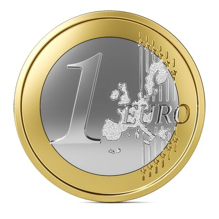 One euro coin 3d isolated on white background