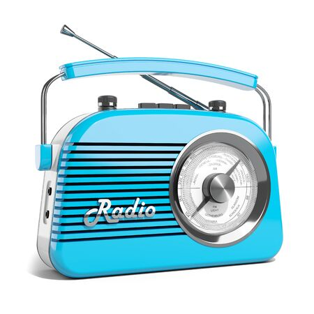 Radio retro portable receiver blue recorder vintage object isolated 3d Imagens