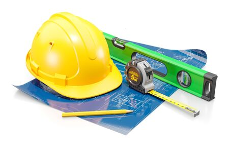 Attributes of the civil engineer. The concept of construction and housing design. 3d render