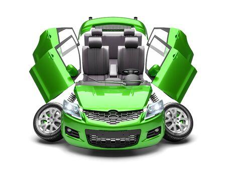 Concept van auto-onderdelen. 3D render geïsoleerd op een witte achtergrond