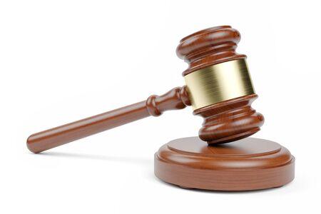 Der Hammer des Richters isoliert auf weißem Hintergrund 3D-Rendering