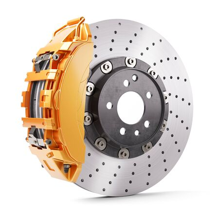 Frenos de automóvil. Pinza y disco de freno de color naranja. Render 3d Foto de archivo