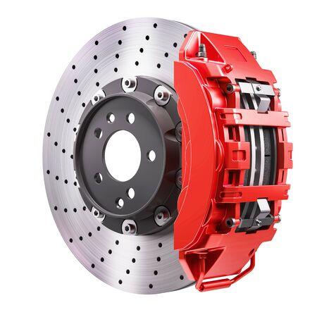 Autobremsmechanismus. Scheibe und roter Bremssattel. 3D-Rendering