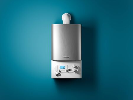 Gas home boiler with electronic control panel on the wall of the house. 3D Stock Photo