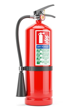 Red Fire extinguisher with instructions label isolated white background 3d Banque d'images