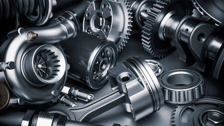 Car engine parts. Closeup 3d render