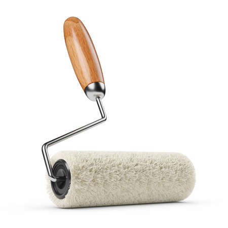 New clean roller brush isolated on white background 3d