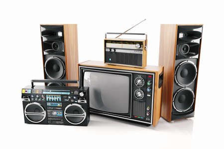 Retro TV, radio, tape recorder and loudspeakers. Old electronics devices. 3d render