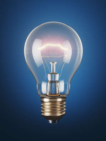 Classic light bulb on a blue background. 3d render