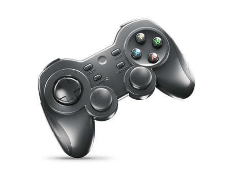Black gaming joystick isolated on white background 3d render Zdjęcie Seryjne