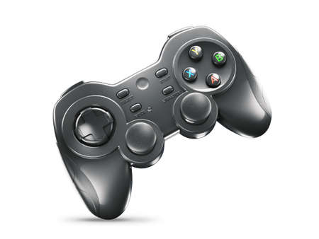 Black gaming joystick isolated on white background 3d render Banque d'images