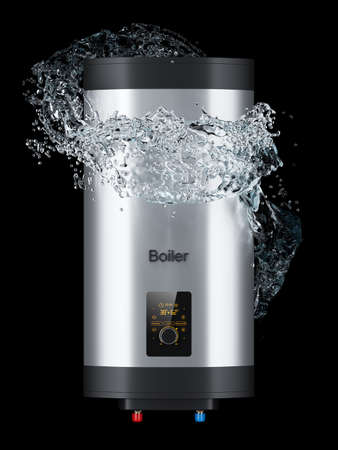 Electric boiler tank and water flow around isolated on black background 3d
