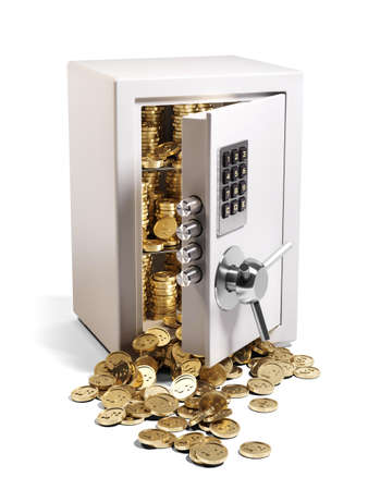 Metal safe vault with open door and filled coins isolated on white background 3D. Stockfoto