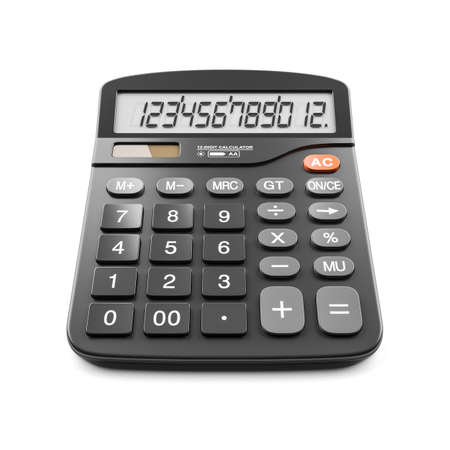 Black digital calculator isolated on white background 3d