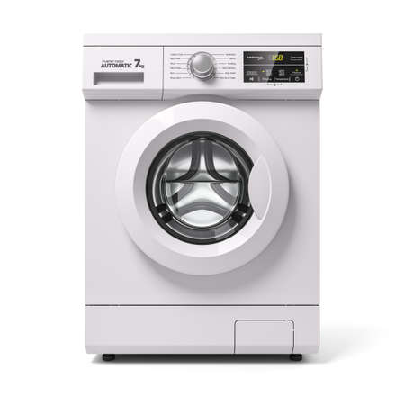 Automatic washing machine, front view. 3d render on white background