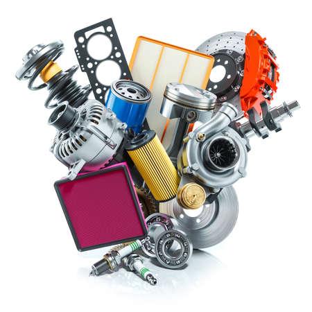 Auto parts logo. 3D render on white background Фото со стока