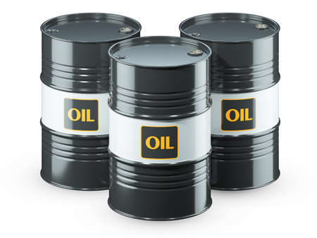 Three black oil barrels isolated on white background 3d render