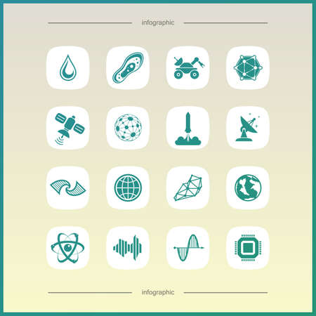 icosahedron: Simple science icons set. Universal science icons to use for web and mobile UI
