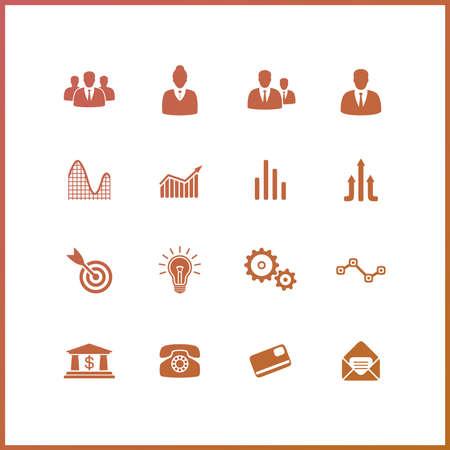 trainee: High quality icon set. Economics and finance. Illustration