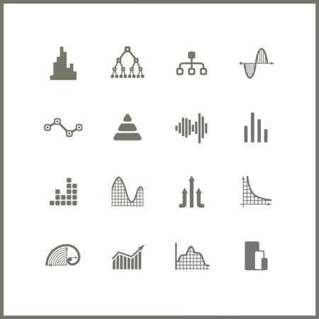 golden section: High quality icon set. Economics and finance. Science and research. Graphs.