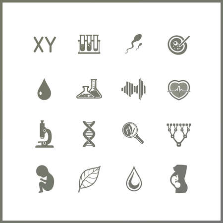 heredity: High quality icon set. Science and Biotechnology. Biomedicine