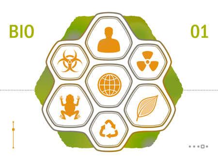 ameba: Los iconos planos - ciencia conjunto Biología Vectores