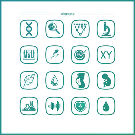 protozoa: Laboratory icons set. Scientific and medical lab appliance contour symbol.