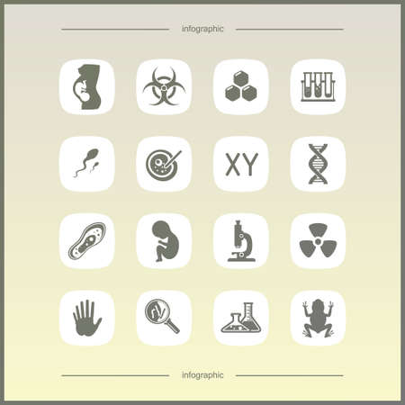 semen: Laboratory icons set. Scientific and medical lab appliance contour symbol.