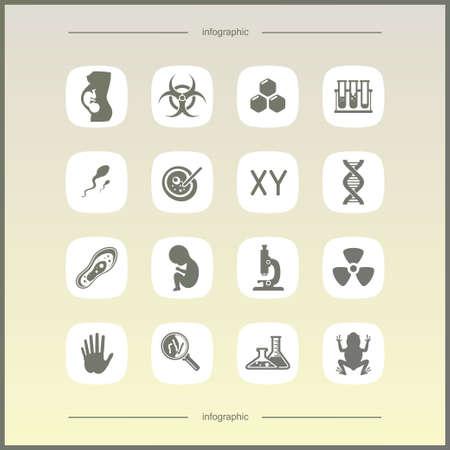 reagent: Laboratory icons set. Scientific and medical lab appliance contour symbol.