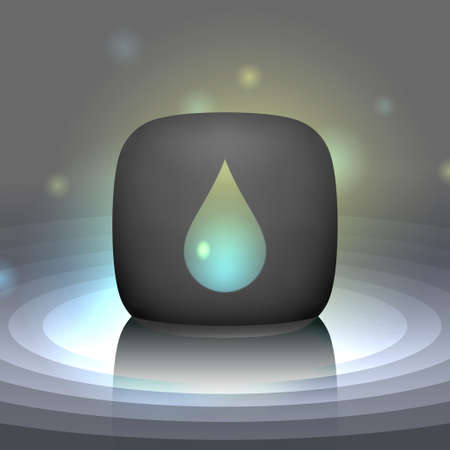 essence: White shining drop icon. Glossy droplet, pure essence, cream isolated