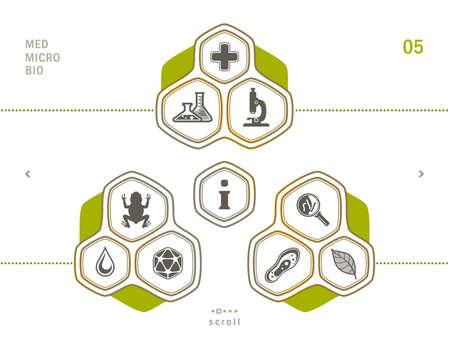 protozoa: Laboratory tools icons set. Scientific and medical lab appliance contour symbol. Illustration