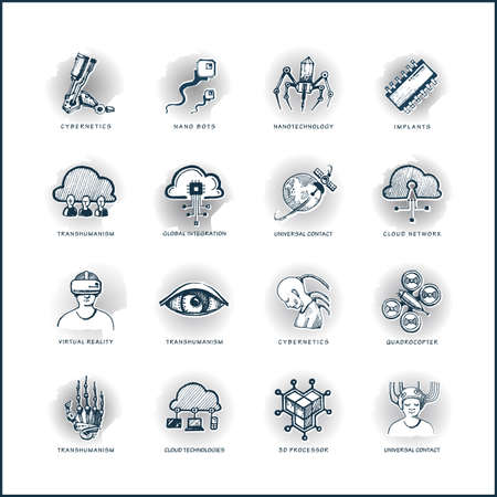 nanoparticle: High quality hand-drawn icons. High-tech, futuristic adverse communication means. Illustration