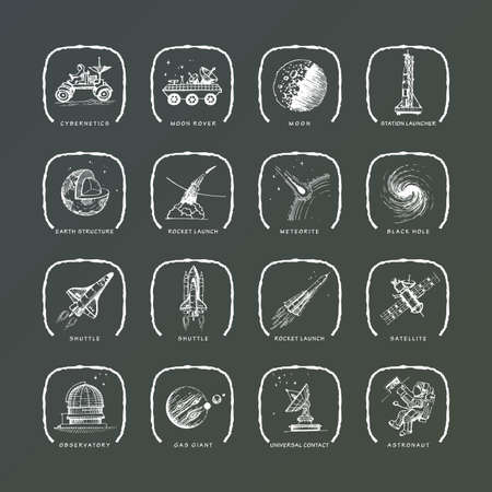 cybernetics: High quality hand-drawn icons. Astronomy and space exploration.